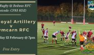 Army Rugby returns to the Bridgefield TONIGHTS GAME (12 FEBRUARY) CANCELLED